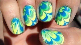 Water Marble Nail Art Tutorial For Short Nails קישוטי ציפורניים לק ומים