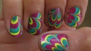 Water Marble Nail Art To Short Nails קישוטי ציפורניים לק ומים